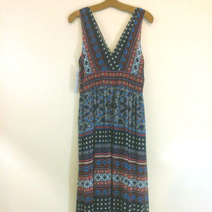 London Times Dress 10 NWT New Maxi Multi Color